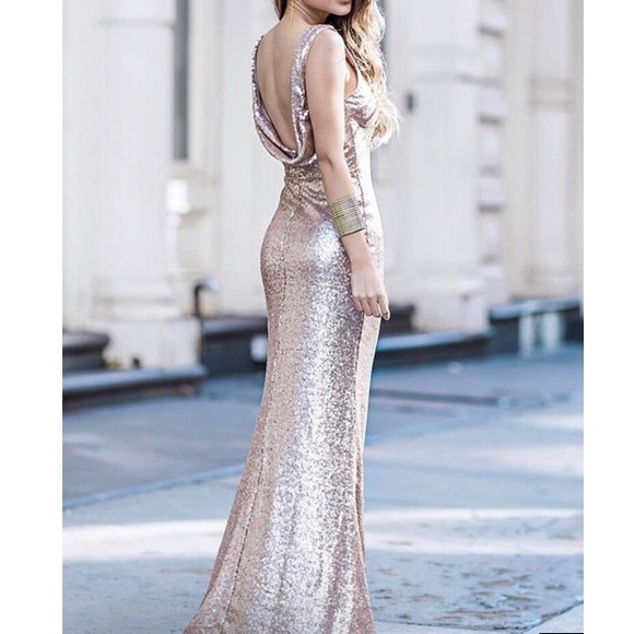 09b540fc Lulu's Dresses & Skirts - SLINK AND WINK MATTE ROSE GOLD SEQUIN MAXI DRESS
